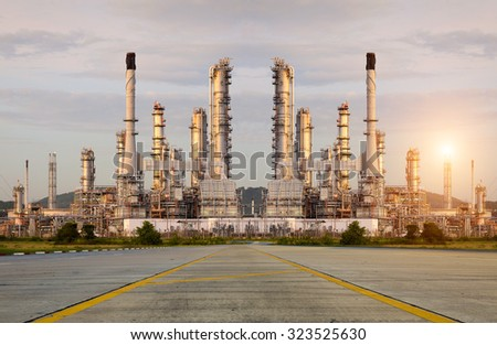 Oil Refinery factory in the morning , petrochemical plant , Chemical Plant , Petroleum