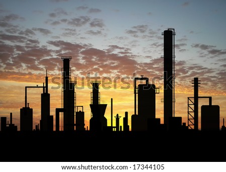 Oil refinery factory over sunrise - stock photo