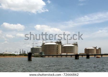 Oil refinery. Gas tanks