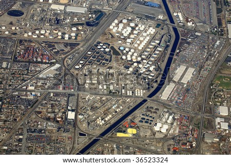 oil refinery general aerial view in california