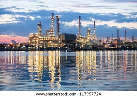 Oil refinery in Bangkok, Thailand just after sunset, petrochemical industry night scene