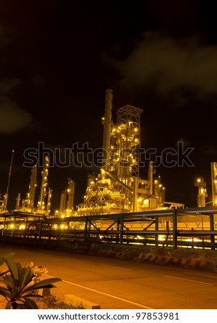 Oil refinery in full operation during the night, industrial estate, Thailand