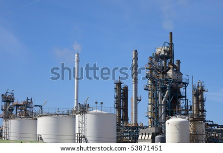 oil refinery in rotterdam, the netherlands - stock photo