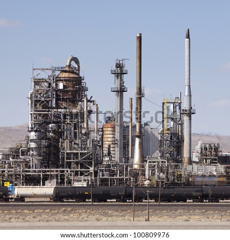 Oil Refinery in Sinclair Wyoming with train