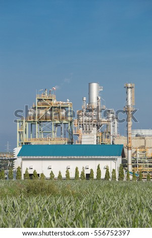 Oil refinery industrial plant with sky, Thailand #556752397