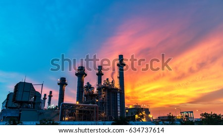 Oil refinery industry at sunset - factory - petrochemical plant #634737614