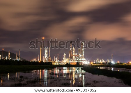 Oil refinery industry, soft focus stock photo