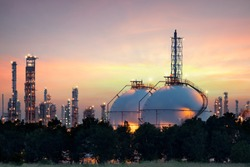 oil refinery industry with oil storage tank