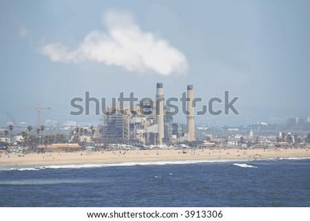 oil refinery off a beach
