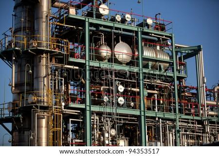 oil refinery on blue sky