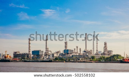 Oil refinery or petrochemical industry with ship in thailand. for Logistic Import Export background. #502558102