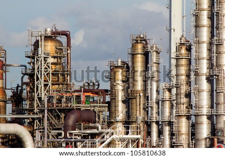 Oil-refinery plant - stock photo
