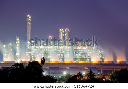 Oil Refinery plant with Power generator at dusk