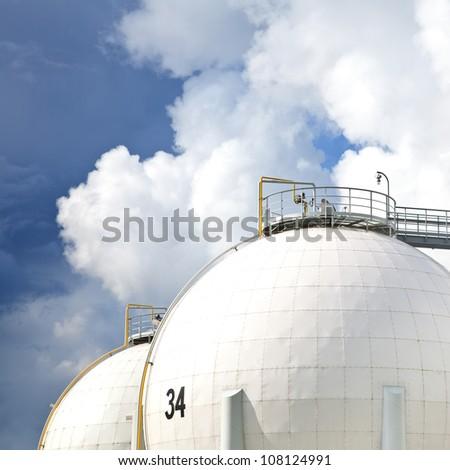 Oil refinery tanks photo