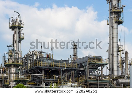 oil refinery tower building factory