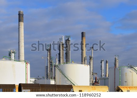 oil refinery with cargo train