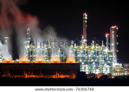 Oil Refinery Working At Night, Eastern Seaboard Thailand