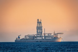 Oil research and exploration seismic vessel or ship at sea