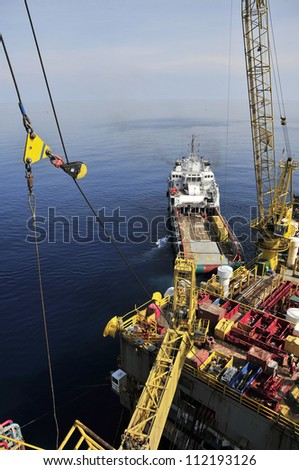 Oil Rig and Moored Loading Ship