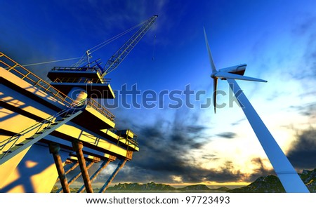 Oil rig and off shore wind  turbine