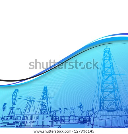 Oil rig banner for your text. Illustration.