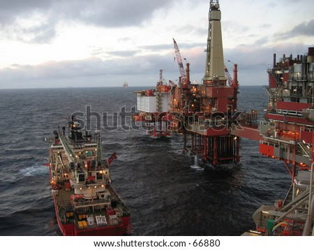 Oil rig being supplied.