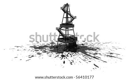 Oil rig construction model 3d, over white