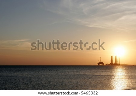 Oil rig in the Caspian Sea near Baku