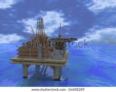 Oil rig in the middle of the ocean
