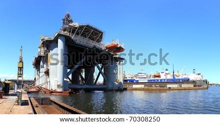 Oil rig in the shipyard in Gdansk, Poland.