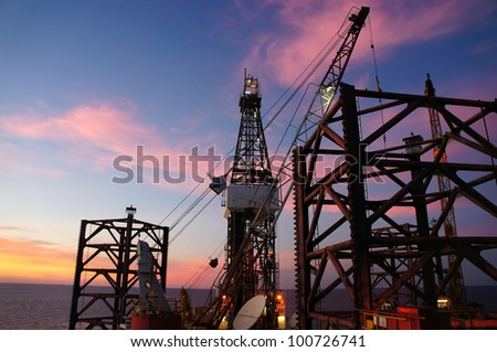 Oil Rig (Jack Up Drilling Rig) at Twilight Time