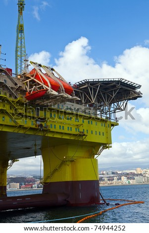 oil rig on harbour for make reparations