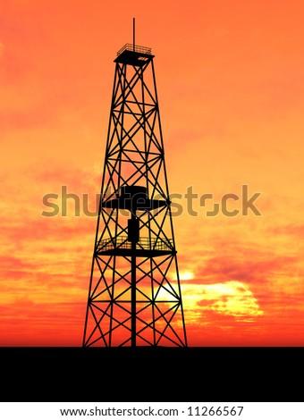 oil rig over orange sky