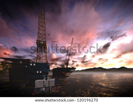 Oil rig  platform with awesome sky