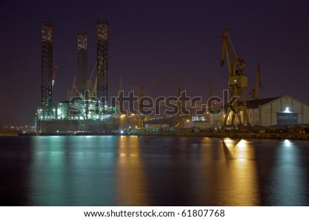 Oil rig under repair at the shipyard.