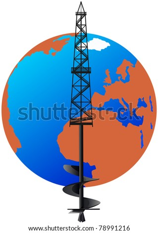 Oil rig with an abstract image of the drill against the backdrop of the planet Earth.
