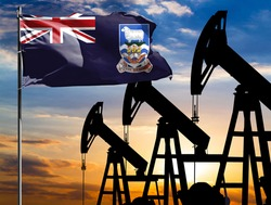 Oil rigs against the backdrop of the colorful sky and a flagpole with the flag of Falkland Islands. The concept of oil production, minerals, development of new deposits.