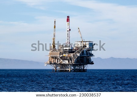 Oil rigs in front of the Ventura coast.