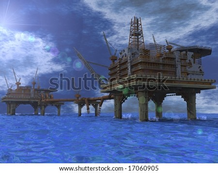 Oil rigs in the middle of the ocean