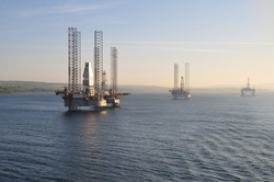 Oil rigs in the open North sea off the coast of England and Scotland