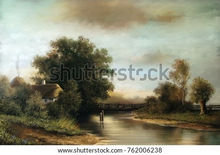 Oil rural landscape paintings, river, village, fine art, digital paint.