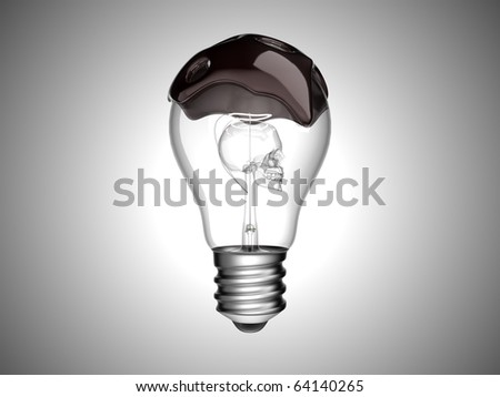 Oil spill and environment. Bulb with skull inside over grey background