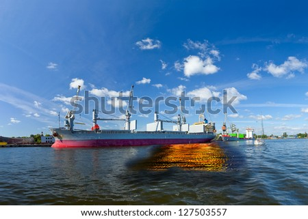 Oil spill from the ship - Image is an artistic digital rendering.