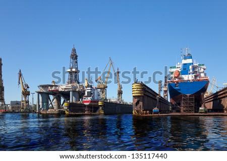 Oil spill in shipyard