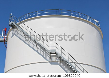 Oil storage tank at a refinery
