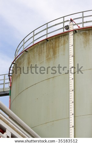 Oil storage tank with level meter