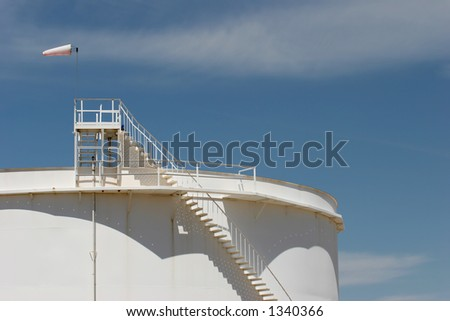 oil storage tank with windsock on top