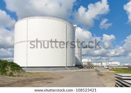 oil storage tanks in amsterdam harbor