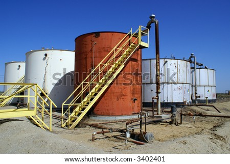 Oil storage tanks in Kern County, California