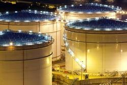 Oil tank, close-up at night.